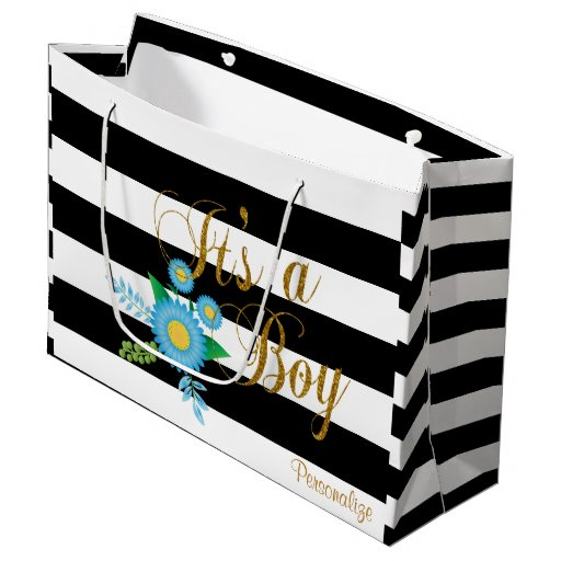 Elegant Black and White Stripes With Blue Floral Large Gift Bag
