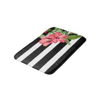 Elegant Black And White Stripes With Flowers Bath Mat