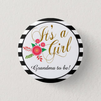 Elegant Black and White Stripes With Pink Floral Button