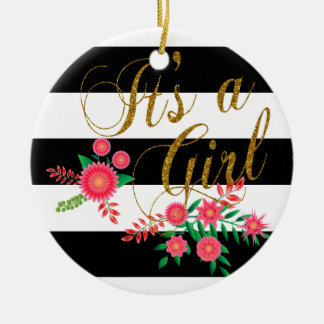 Elegant Black and White Stripes With Pink Floral Ceramic Ornament