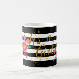 Elegant Black and White Stripes With Pink Floral Coffee Mug