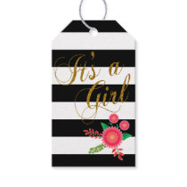 Elegant Black and White Stripes With Pink Floral Gift Tags