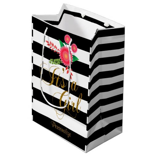 Elegant Black and White Stripes With Pink Floral Medium Gift Bag