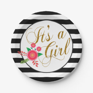 Elegant Black and White Stripes With Pink Floral Paper Plate