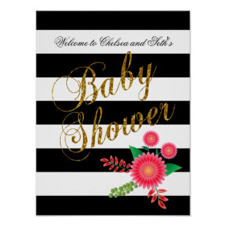 Elegant Black and White Stripes With Pink Floral Poster
