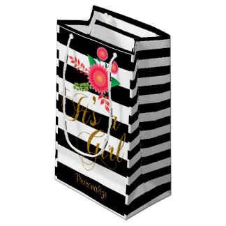 Elegant Black and White Stripes With Pink Floral Small Gift Bag