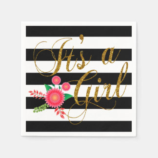 Elegant Black and White Stripes With Pink Floral Standard Cocktail Napkin
