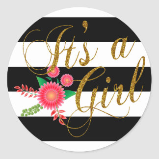 Elegant Black and White Stripes With Pink Floral Classic Round Sticker