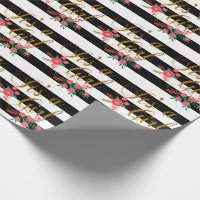 Elegant Black and White Stripes With Pink Floral Wrapping Paper