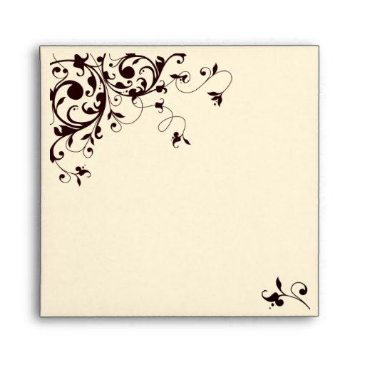 Elegant black and white swirl envelope