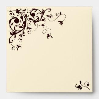 Elegant black and white swirl envelopes