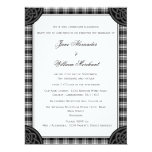 Elegant Black and White Tartan Plaid Wedding Invitation