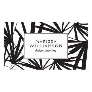 Elegant Black and White Tropical Palm Fronds Business Card Template