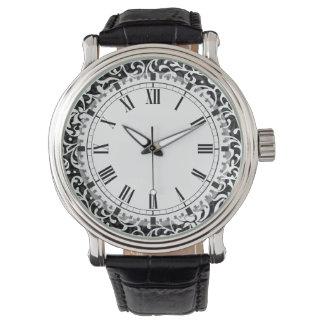 Elegant Black and White Tudor Gardens Floral Wrist Watches