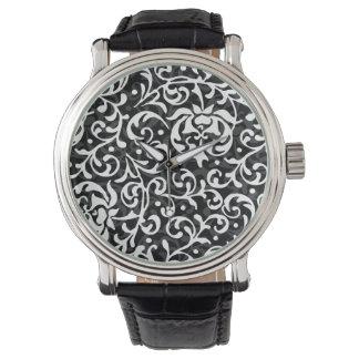 Elegant Black and White Tudor Gardens Floral Wristwatch