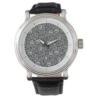 Elegant Black and White Tudor Gardens Floral Wristwatches