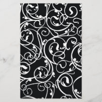 Elegant Black and White Vintage  Damask Pattern
