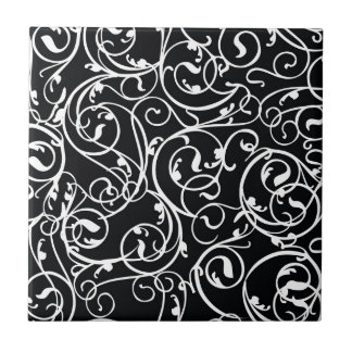 Elegant Black and White Vintage  Damask Pattern Ceramic Tile