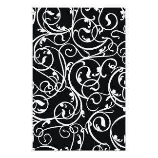 Elegant Black and White Vintage  Damask Pattern Stationery