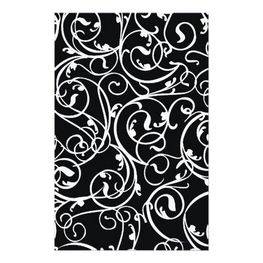 Elegant Black and White Vintage  Damask Pattern Stationery Paper