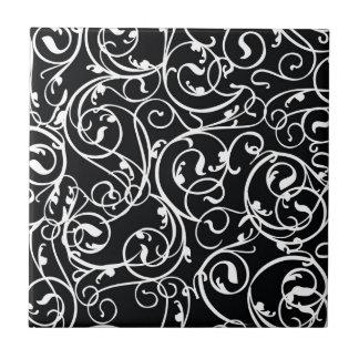 Elegant Black and White Vintage  Damask Pattern Tiles