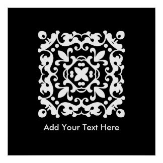 Elegant Black and White Vintage Decorative Poster