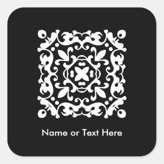 Elegant Black and White Vintage Decorative Square Sticker