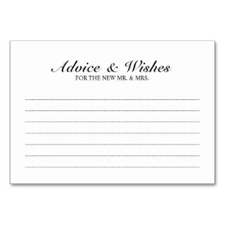 Elegant Black and White Wedding Advice and Wishes Table Number
