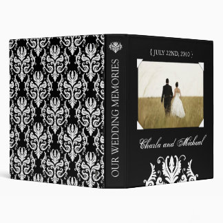 Elegant Black and White Wedding Album 3 Ring Binder