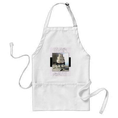 Elegant Black and white Wedding cake Aprons by perfectpostage