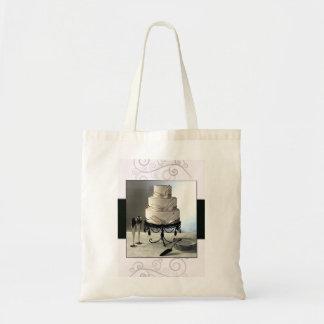 Elegant black and white  wedding cake budget tote bag