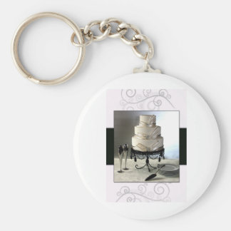Elegant black and white  wedding cake keychain