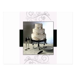 Elegant black and white  wedding cake post cards