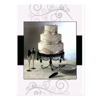 Elegant black and white  wedding cake postcard