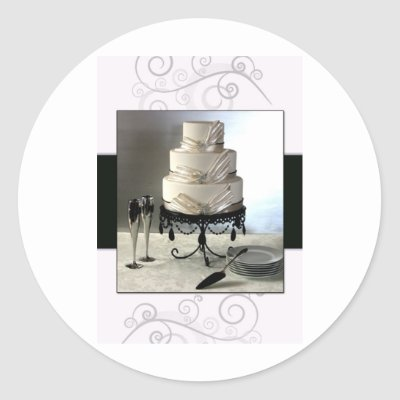 Elegant black and white wedding cake stickers by perfectpostage