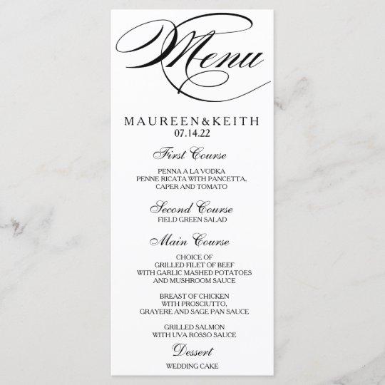 Wedding Food Menu Samples: Autumn Floral Dinner Menu Card
