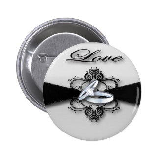 Elegant Black and White Wedding Favor Pinback Button