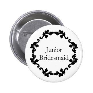Elegant black and white wedding junior bridesmaid button