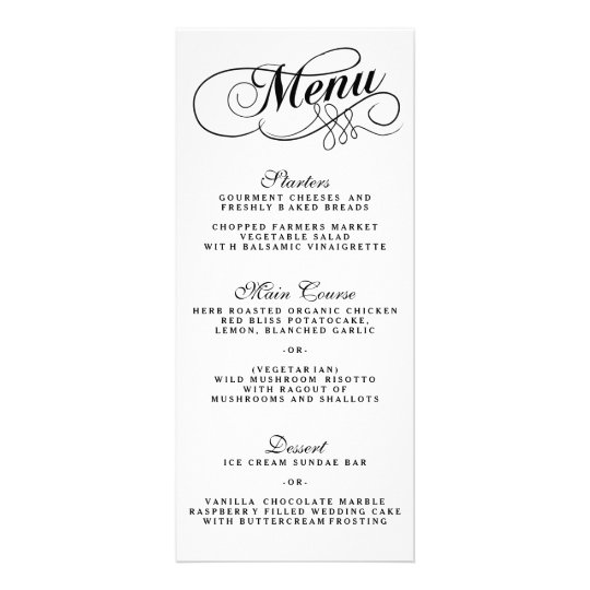 Elegant Black And White Wedding Menu Templates  ZazzleCom