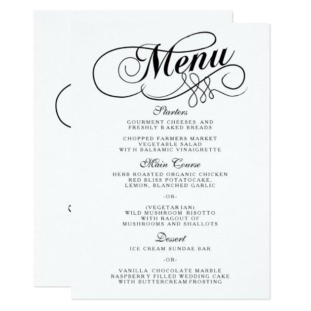 Elegant Black And White Wedding Menu Templates | Zazzle.com