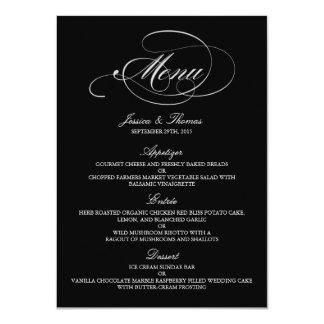 Elegant Black And White Wedding Menu Templates Card