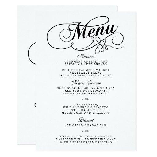 Wedding Menu Template: Elegant Black And White Wedding Menu Templates Card