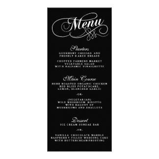 Elegant Black And White Wedding Menu Templates Full Color Rack Card