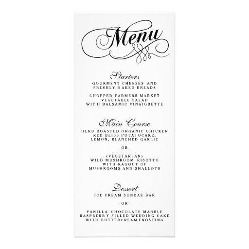 elegant black and white wedding menu templates rack card design zazzle. Black Bedroom Furniture Sets. Home Design Ideas