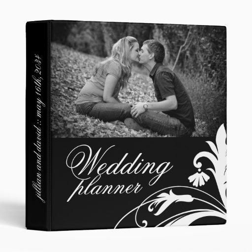 Elegant Black and White Wedding planner 3 Ring Binder