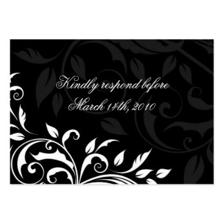Elegant Black and White Wedding Reply Cards Business Card Template