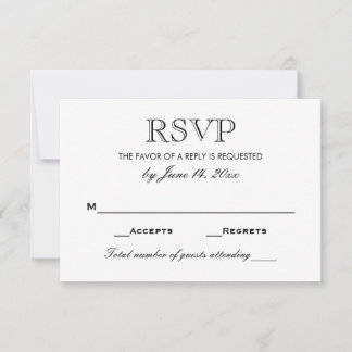 Elegant Black and White Wedding RSVP Card