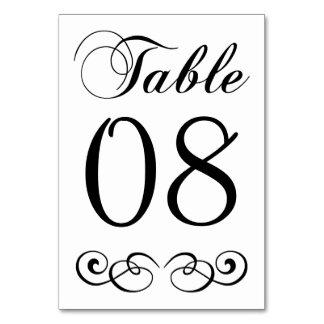 Elegant Black And White Wedding Table Number Card