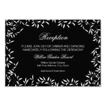 Elegant Black and White Willow Leaf Reception Card