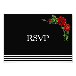 Elegant Black and White with Red Rose RSVP Card
